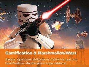 "Desenho de um Storm Trooper Marshmallow e a escrita "" Gamification e marshmallowWars. Assista a palestra realizada na Califórnia que une Gamification, Marshmallow e persistência"""
