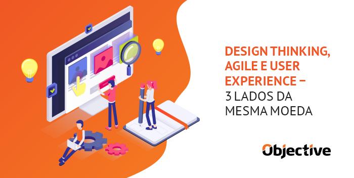 """Desenho da construção de um site e ao lado a escrita""""Design Thinking, Agile e User Experience - 3 Lados da Mesma Moeda"""""""