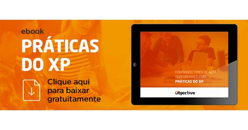 """Imagem de pessoas trabalhando e ao lado a escrita """"Ebook práticas do Xp. Clique aqui para baixar gratuitamente"""""""