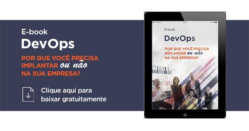 """Um tablet com a escrita """"E-book DevOps por que você precisa aplicar ou não na sua empresa?"""""""