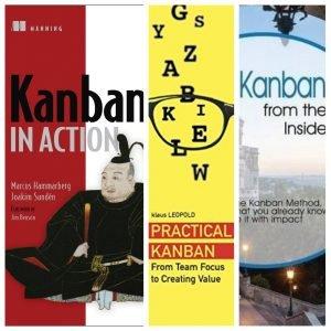 imagem dividida entre três capas de livros sobre Kanban