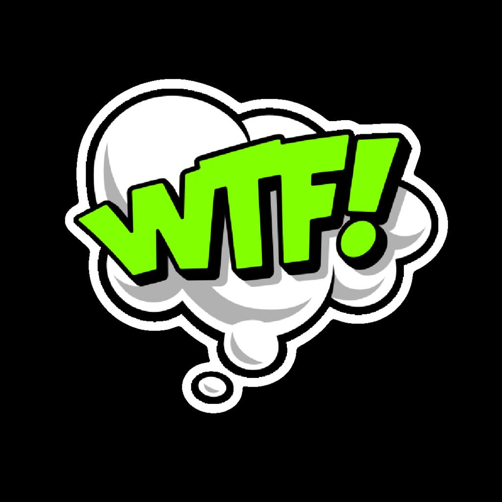 """Balão de pensamento escrito """"WTF!"""""""
