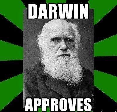 "Foto de Charles Darwin escrito "" Darwin Approves"