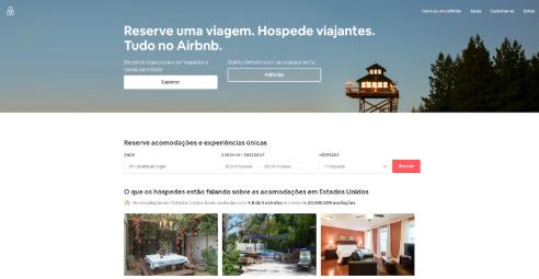 print da home do site do airbnb em janeiro de 2019