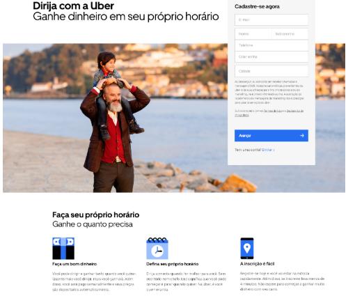 print da home do site da uber em janeiro de 2019
