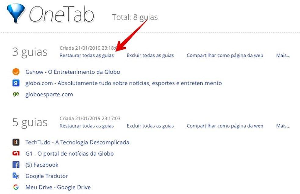 Imagem indicando onde clicar para restaurar todas as guias do navegador