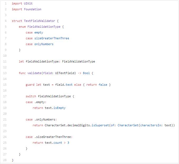 exemplo de programação para solução para esta validação