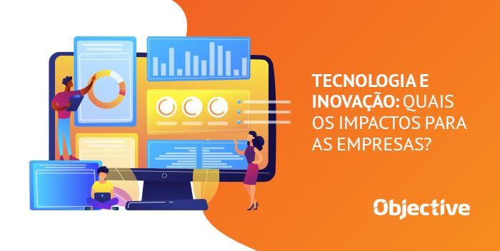 """Desenho de uma página na web sendo construída e ao lado a frase """"Panorama da tecnologia e inovação nas empresas"""""""