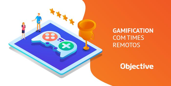 """Desenho de um controle de video game com um troféu e a escrita """"Gamification com times remotos"""""""