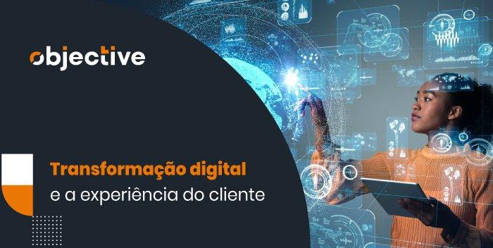 """Pessoa utilizando uma tela com vários gráficos e ao lado a escrita """"Transformação digital e a relação com a experiência do cliente'"""