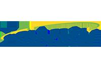 Logo Embratel azul com detalhes verde e amarelo