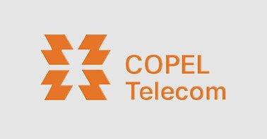 Logo Copel laranja em um fundo cinza