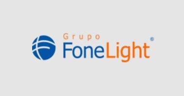 Logo Fonelight nas cores azul e laranja em um fundo cinza