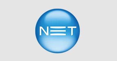 Logo Net azul e branco em um fundo cinza