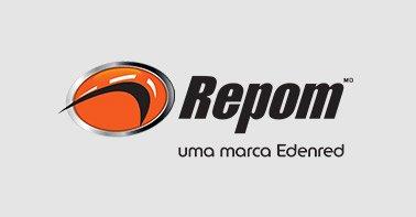 """Logo Repom nas cores preto cinza e laranja com a escrita """"uma marca Edenred"""" em um fundo cinza"""
