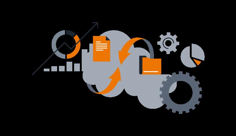 Ilustração com gráficos, arquivos e engrenagens representando elementos de DevOps