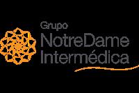 Logo Grupo Notre Dame Intermédica nas cores preto e laranja