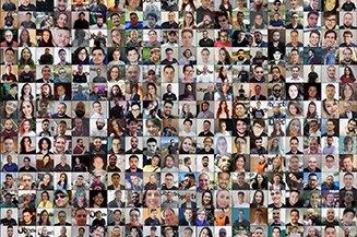 Mosaico formado por fotos de colaboradores da Objective