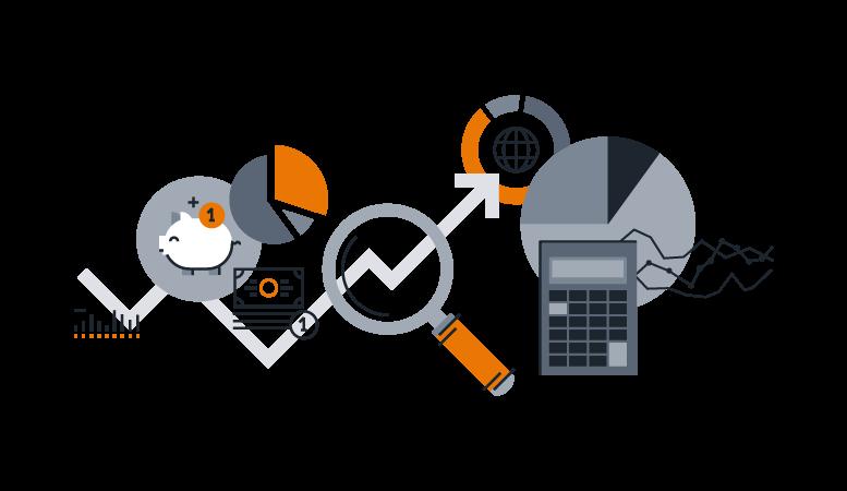 Ilustração de finanças como calculadora e gráficos para ilustrar as funcionalidades do NG Billing