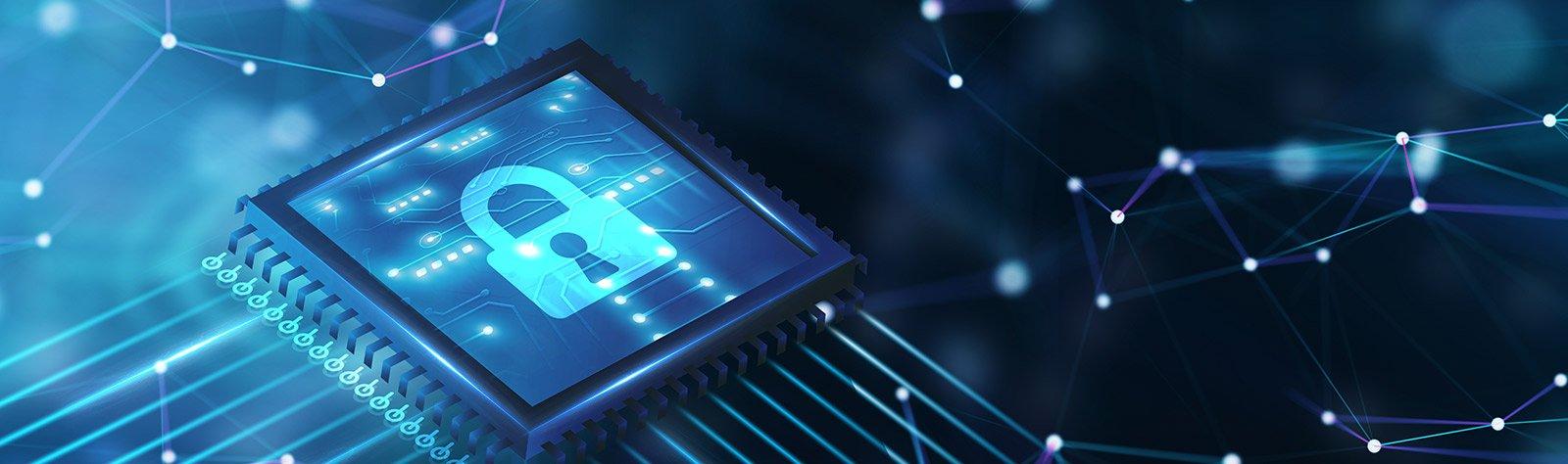 Imagem de um chip com o desenho de um cadeado