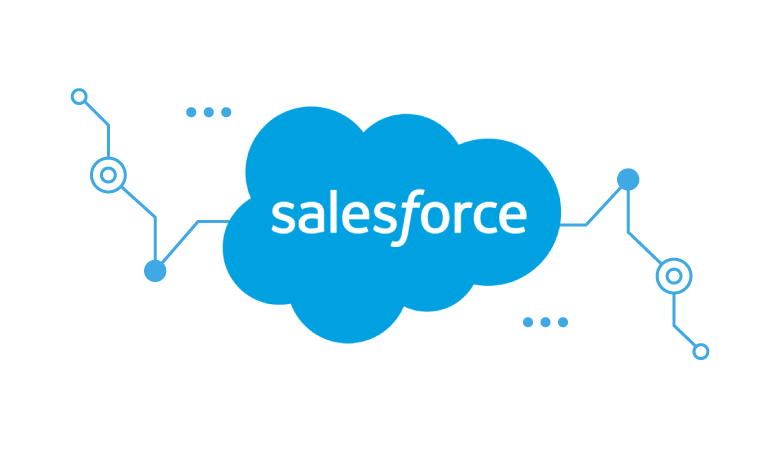 Logo Salesforce com grafismos