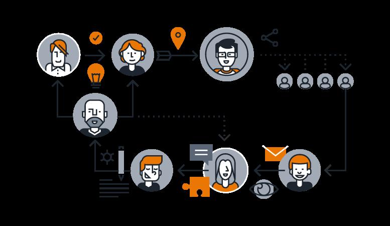 Ilustração de pessoas ligadas em times para mostrar como funciona o modelo de Squads de Desenvolvimento
