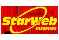 Logo StarWeb nas cores amarelo e vermelho escruro