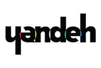 Logo Yandeh preta com detalhes em vermelho, amarelo, verde e azul