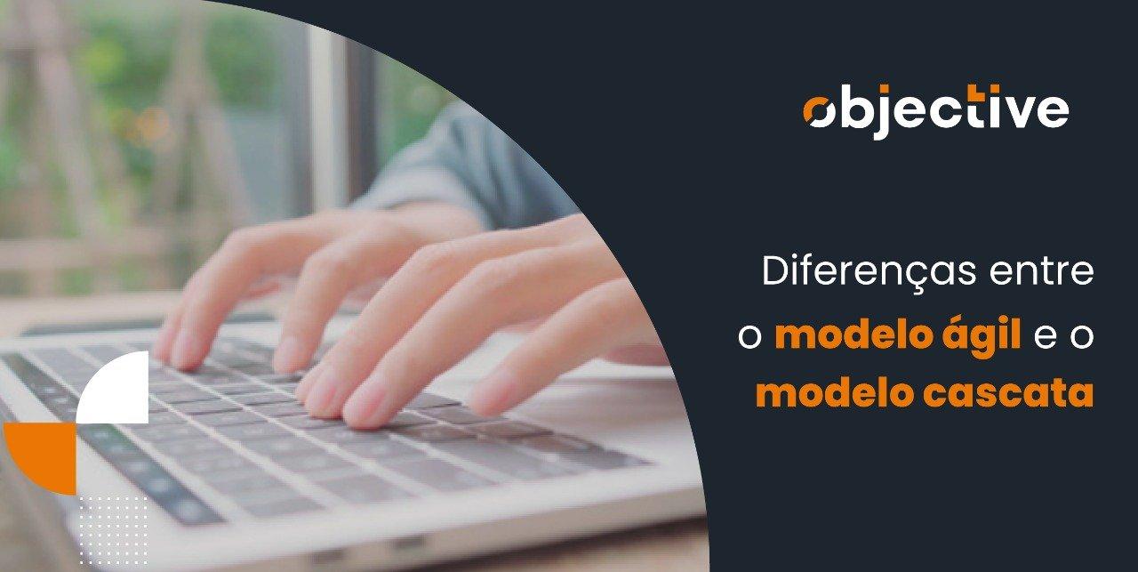 """Imagem de uma pessoa usando um computador e ao lado a escrita """"Diferença entre o modelo ágil e o modelo cascata"""""""